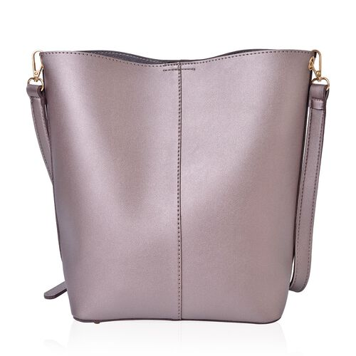 Set of 2 - Metallic Grey Colour Buckle Design Handbag (Size 33X23X13 Cm) and Small Handbag (Size 24X22X18X6 Cm) with Ajdustable and Removable Shoulder Strap