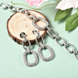 Close Out Collection- 2 Piece Set -  Designer Inspired Bracelet & Earrings in Silver Tone
