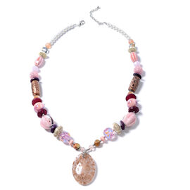 Murano Style Glass (Ovl), Simulated Pearl, Multi Colour Simulated Diamond, Wood Necklace (Size 30 and 2.5 inch Extender)