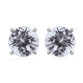 RHAPSODY Tanzanian White Zircon Solitaire Stud Earrings in 950 Platinum 2.10 Grams