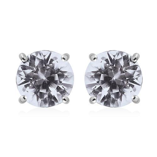 RHAPSODY Tanzanian White Zircon Solitaire Stud Earrings in 950 Platinum 2.10 Grams
