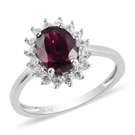 Rhodolite Garnet and Natural Cambodian Zircon Halo Ring Platinum Overlay Sterling Silver 1.75 Ct.