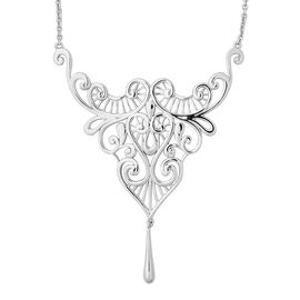 Lucy Q Lace Dripping Necklace in Rhodium Plated Silver 13.90 Grams 16 with 4 inch Extender