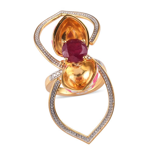 GP - 2A African Ruby, Natural Cambodian Zircon and Blue Sapphire Enamelled Lotus Reveal Ring in 14K Gold Overlay Sterling Silver 3.14 Ct, Silver wt 9.50 Gms