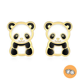 Panda Enamelled Stud Earrings (with Push Back) for Children in 9K Yellow Gold