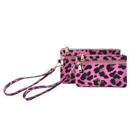 Set of 2 - 100% Genuine Leather Purple and Black Leopard Pattern RFID Clutch Wallet (18x10cm, 15x9cm