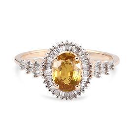 9K Yellow Gold AAA Yellow Sapphire and Diamond Ring 1.23 Ct.