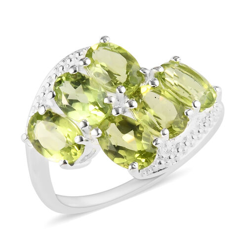3 Carat Hebei Peridot Bypass Ring in Sterling Silver