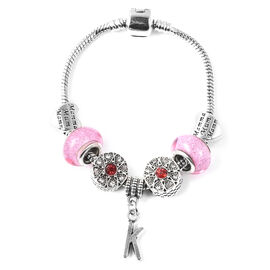 K Initial Charm Bracelet for Children in Simulated Pink Colour Bead, Red and White Austrian Crystal
