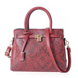 Close Out Deal Burgundy Colour Damask Embossed Tote Bag with External Zipper Pocket and Removable Sh
