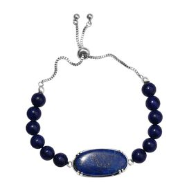 20 Carat Lapis Lazuli Beaded Adjustable Bracelet in Stainless Steel 6.5 to 9.5 Inch