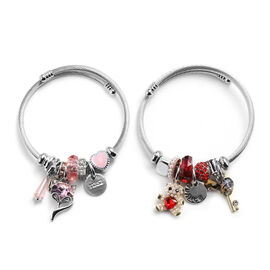 2 Piece Set - Simulated Rose Quartz, Simulated Ruby and Multi Colour Gemstone Multi-Charm Adjustable