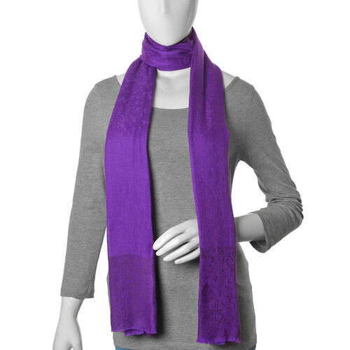 100% Fine Cashmere Wool Purple Colour Self Pattern Shawl (Size 200x70 Cm)