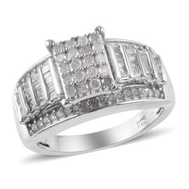0.75 Ct Diamond Cluster Ring in Platinum Plated Sterling Silver 5 Grams