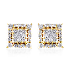 0.50 Ct Diamond Cluster Stud Earrings (with Push Back) in 9K Yellow Gold SGL Certified I3 GH