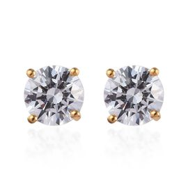 J Francis Made with SWAROVSKI ZIRCONIA Solitaire Stud Earrings in 14K Gold Plated Silver