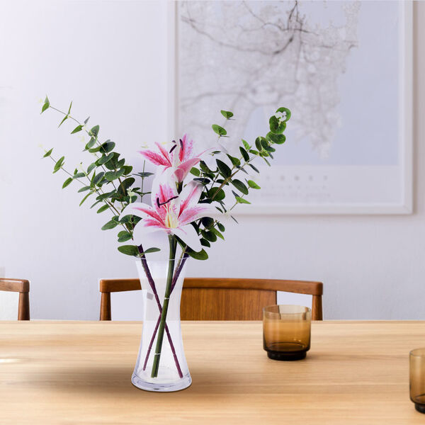 The 5th Season - Decorative Two Heads Artificial Lily with Vase and Perfume Spayer (Size Vase: 24X12X10, Bouquet 55 cm) - Pink
