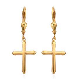 14K Gold Overlay Sterling Silver Lever Back Cross Earrings