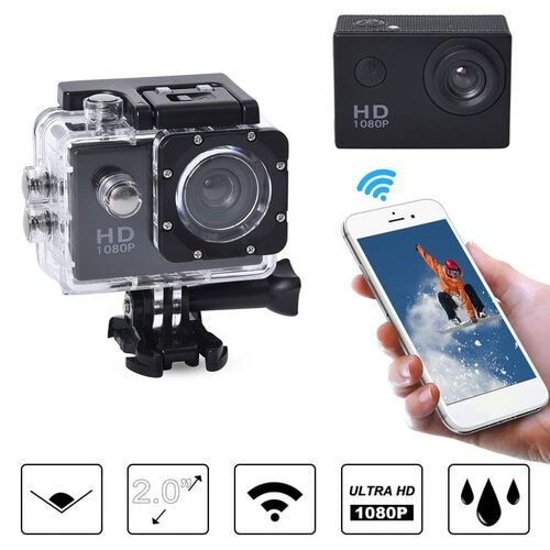 1080P HD TFT Screen Action Camera with 100 Degree Wide Angle - Black