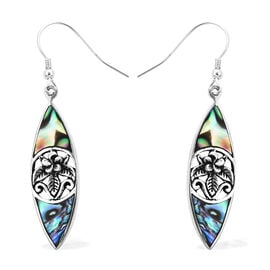 Royal Bali Collection -  Abalone Shell Floral Hook Earrings in Sterling Silver, Silver wt 3.37 Gms