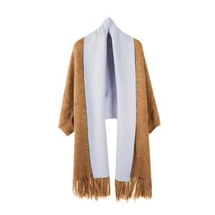 Kris Ana Wrap with Tassels (Size One, 8-18) - Tan and Grey