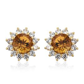 Collectors Edition- Xia Heliodor (Rnd), Natural Cambodian Zircon Stud Earrings (with Push Back) in 1
