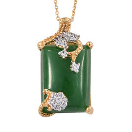 Green Jade (Bgt 18x13 mm), Natural White Cambodian Zircon Pendant With Chain (Size 18) in 14K Gold Overlay Sterling Silver 18.000 Ct.