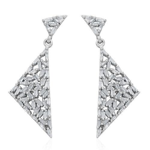 GP Diamond (Bgt), Kanchanaburi Blue Sapphire Earrings (with Push Back) in Platinum Overlay Sterling Silver 1.000 Ct.