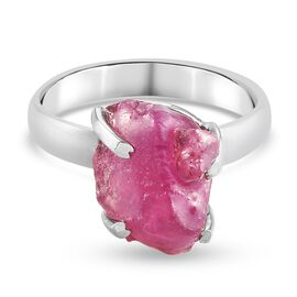 African Ruby Ring in Platinum Overlay Sterling Silver 8.00 Ct.