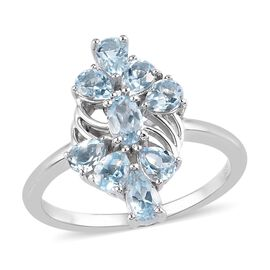 Santa Teresa Aquamarine Cluster Ring in Platinum Overlay Sterling Silver 1.23 Ct.