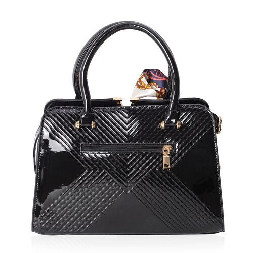 Hong Kong Collection High Glossed Black Tote Bag with Removable Shoulder Strap (Size 31.5x21.5x12.5 Cm) and Multi Colour Scarf (Size 86x4 Cm)