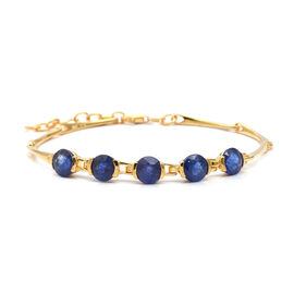 9.65 Ct Blue Sapphire 5 Stone Bracelet in Gold Plated Sterling Silver 7.5 Grams
