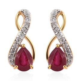African Ruby (1.50 Ct),Cambodian Zircon 14K Gold Overlay Sterling Silver Earring  2.250  Ct.