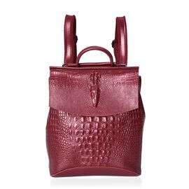 100% Genuine Leather Croc Embossed Backpack (Size 36x33x13 Cm) - Wine