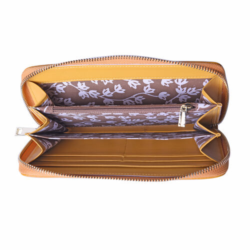 Sencillez 100% Genuine Leather RFID Protected Croc Embossed Wallet (Size 19x2x10cm) - Mustard