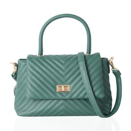 Summer Green Colour Tote Bag with Removable Shoulder Strap (Size 27x18x9 Cm)