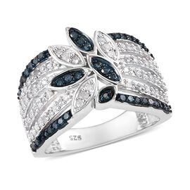 Diamond Platinum Overlay Sterling Silver Ring  0.430  Ct.