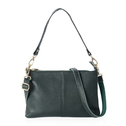 Super Soft 100% Genuine Leather Olive Green Cross Body Bag with Adjustable and Removable Shoulder Strap (Size 25x17x4 Cm)