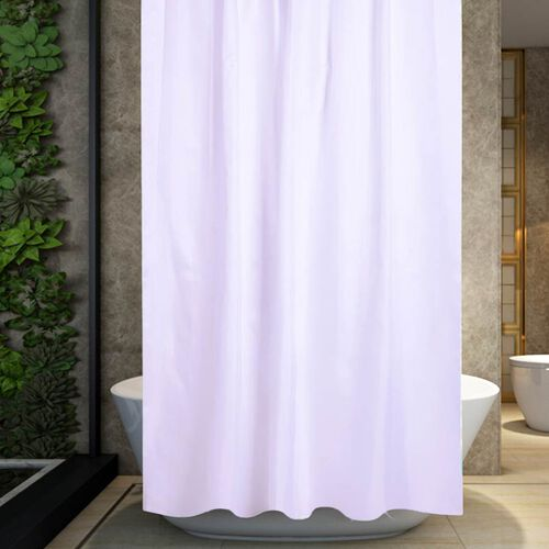 White Colour Waterproof Shower Curtain with 12 Hooks (180x180cm)