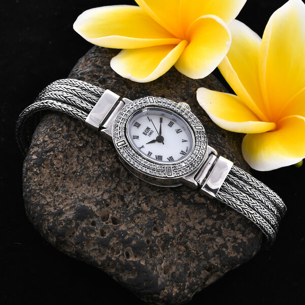Royal Bali Collection - EON 1962 Swiss Movement White Topaz Studded Water Resistant Tulang Naga Bracelet Watch (Size 7.5) in Sterling Silver 1.23 Ct, Silver wt 32.67 Gms