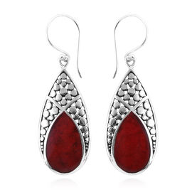Royal Bali Collection Coral (Pear) Drop Hook Earrings in Sterling Silver