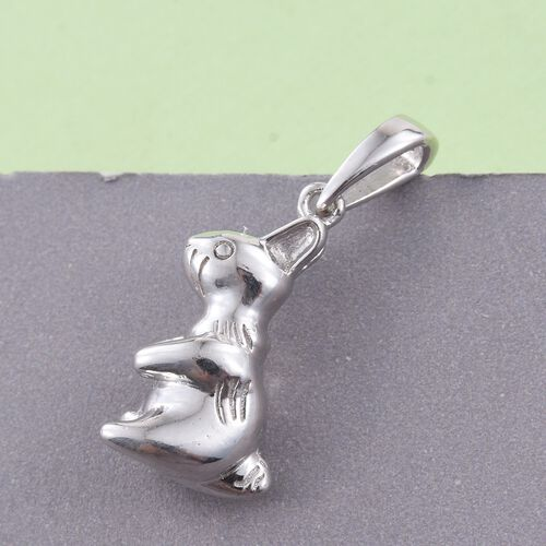 Bunny Silver Pendant in Platinum Overlay, Silver wt 4.81 Gms.