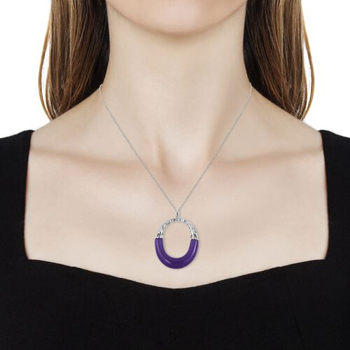 RACHEL GALLEY Goddess Purple Jade Pendant with Chain (Size 30) in Rhodium Plated Sterling Silver 29.110 Ct. Silver wt 10.74 Gms.