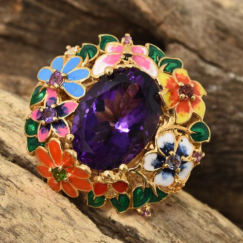 Limited Edition- GP Amethyst (Rare Size Ovl 18x13 mm 11.00 Ct), Mozambique Garnet, Russian Diopside, Citrine and Multi Gemstone Floral Ring in 14K Gold Overlay Sterling Silver 11.500 Ct.