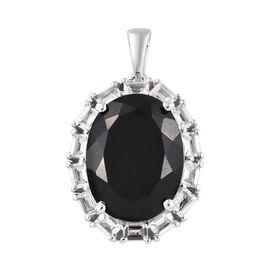 Black Tourmaline (Ovl 16x12 mm, 9.75 Ct), White Topaz Halo Pendant in Platinum Overlay Sterling Silv
