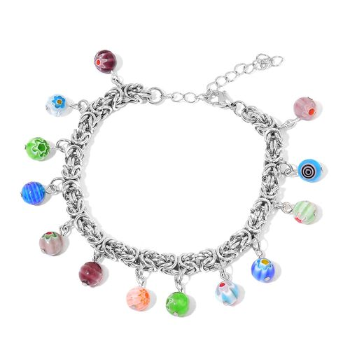 Murano Style Glass Bead Charm Byzantine Bracelet (Size 7.5 with 1 Inch Extender) in Stainless Steel
