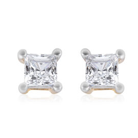 9K Yellow Gold SGL Certified Diamond (I3/G-H) Square Stud Earrings (with Push Back) 0.25 Ct.