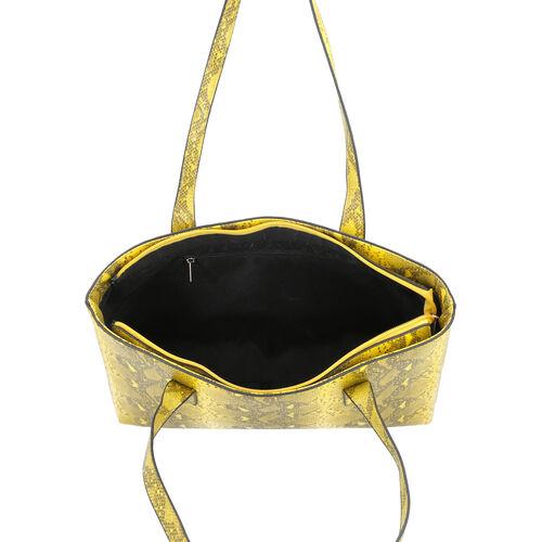 Yellow Retro Snake Skin Pattern Handbag with Zipper Closure (Size 37x11x28 Cm)