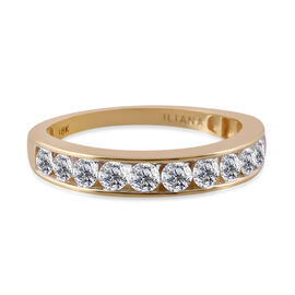ILIANA 18K Yellow Gold IGI Certified Diamond (Rnd) (SI/G-H) Half Eternity Ring 1.000 Ct.