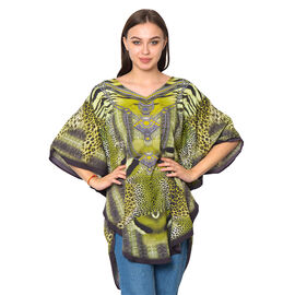 Green Colour Digital Leopard Printed Kaftan One Size (90x75 Cm)